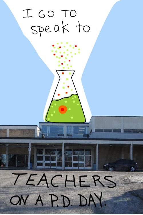 drawing of beaker and photo of Ottawa high school by Franke James