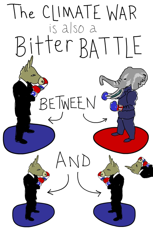 Democrats and Republicans fighting drawing by Franke James