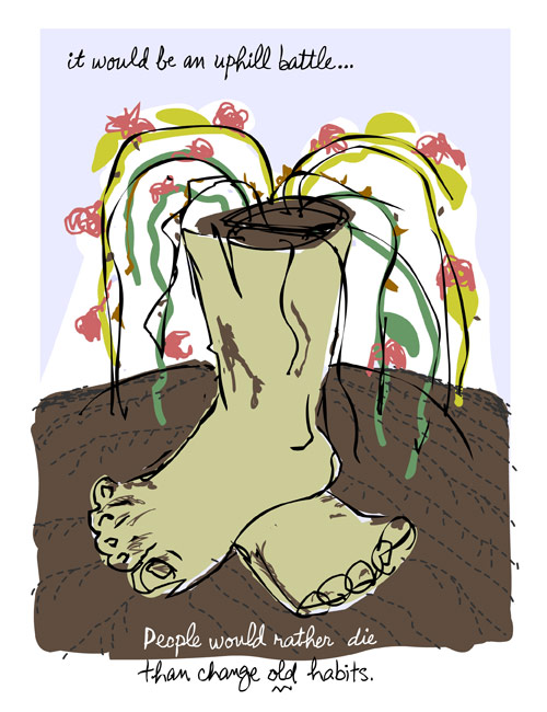 franke james illustration of feet in mud