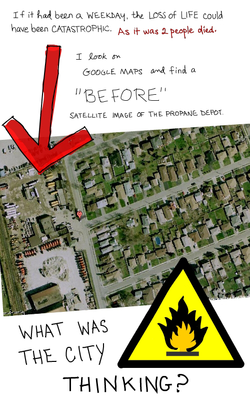 Google Map satellite image before the explosion at Sunrise Propane, plus drawing of danger sign by Franke James