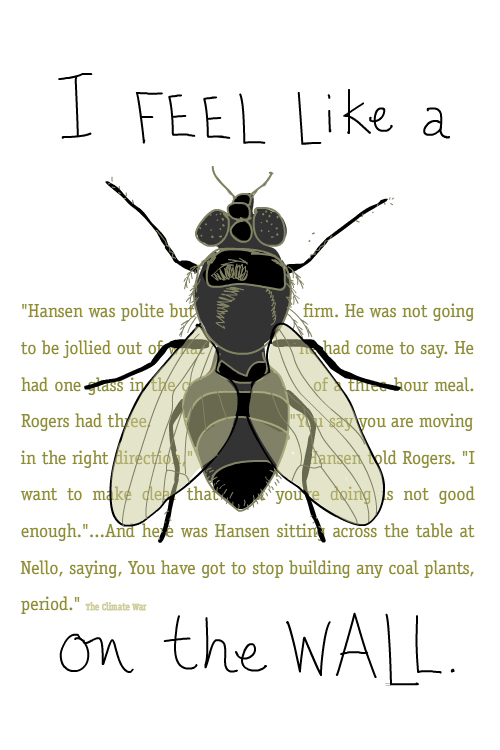 Text from The Climate War. Handwritten text and Fly on the Wall illustration by Franke James