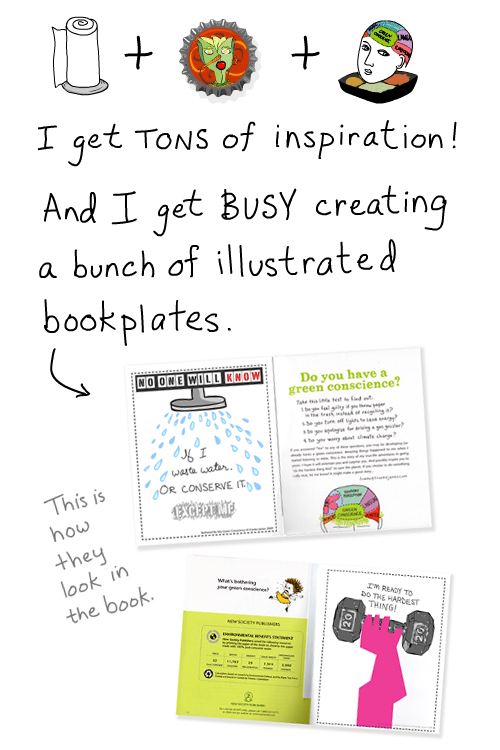 inspiration and stickers in book by franke james