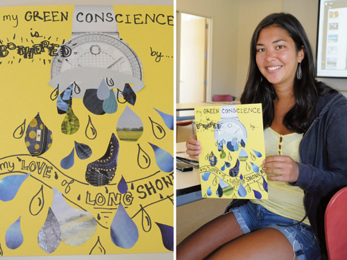 green conscience artwork by Bates College student
