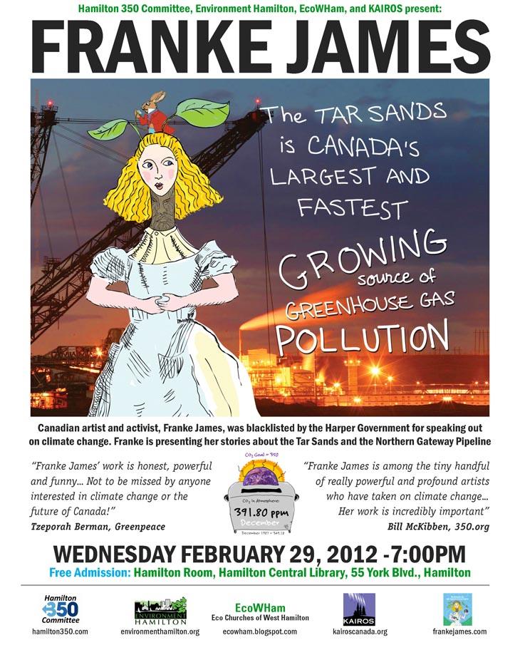Event Poster: Hamilton 350, Environment Hamilton, EcoWHam, & KAIROS, present Franke James, Feb.29, 2012