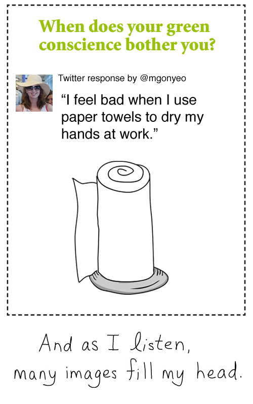 twitter paper towel green conscience illustration by franke james