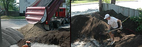 gravel delivered, shovel soil =