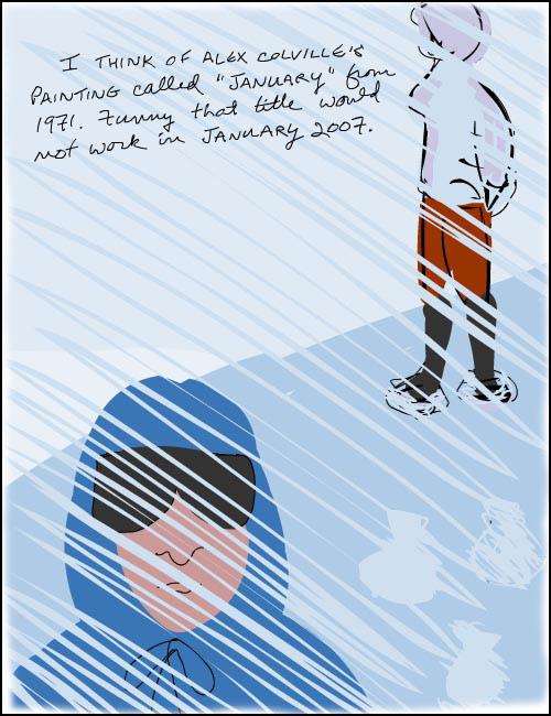 Franke James illustration inspired by Alex Colville