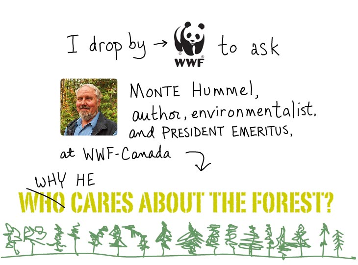 I drop by WWF Canada to ask Monte Hummel, photo illustration by Franke James features head shot photo of Monte supplied by WWF