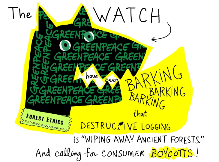 The Watchdogs have been barking, photo illustration by Franke James featuring Greenpeace logo