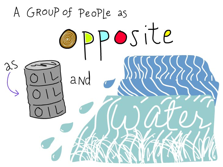 A group of people as opposite as oil and water, illustration by Franke James