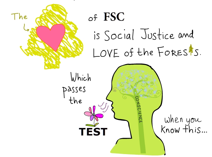 The heart of FSC is social justice and love of the forest, illustration by Franke James