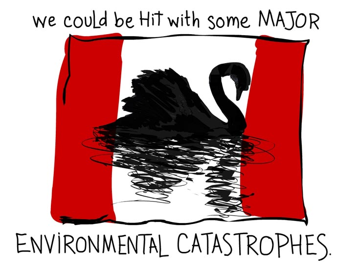 We could be hit with some major environmental catastrophes, Writing and Black Swan Canada Flag illustration by Franke James