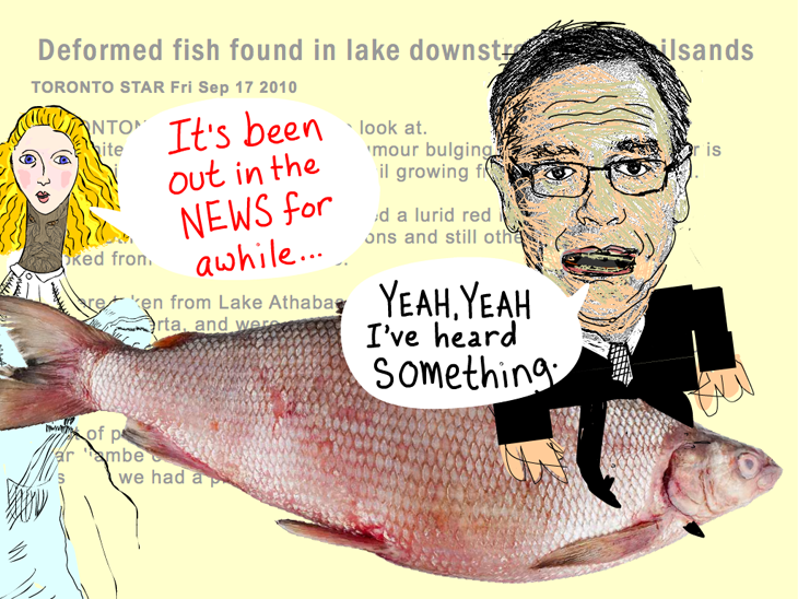 So I reminded him that the news of the contaminated fish was reported in 2010. And then Joe admitted, 'Yeah, yeah I've heard something.' Quote from March 3, 2012 meeting, Joe Oliver riding a fish illustration by Franke James. Fish photo research archive David Schindler