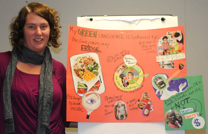 Annie's green conscience artwork about food in the fridge, photo by Franke James
