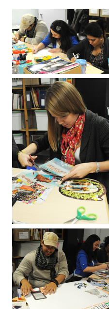 students cutting magazines to create their green conscience artwork, photo by Franke James