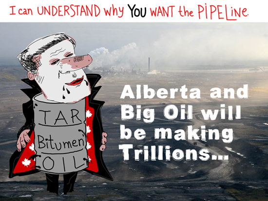 Alberta and Big Oil will be making trillions; Harper Dirty Oil illustration by Franke James, Photo Syncrude 2007 -12 Photo  2007 David Dodge, CPAWS