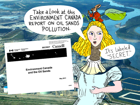 Take a look at this Environment Canada report on the oil sands pollution. Its labeled 'secret'; Alice illustration by Franke James