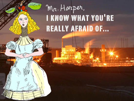 Mr Harper I know what you are really afraid of; photo-illustration by Franke James, Tar Sands photo background: Syncrude oil sands plant at night; Photo copyright 2005 David Dodge, The Pembina Institute