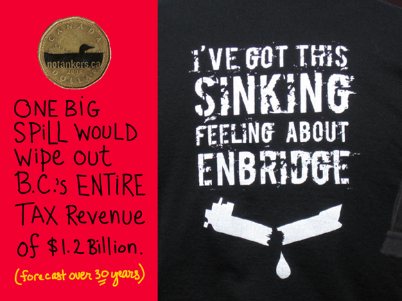 One big spill could wipe out B.C.'s entire tax revenue of $1.2 billion -- which is forecast over 30 years; writing by Franke James; Dogwood Initiative 'No Tankers Loonie Decal'; Photo of tshirt with Sinking Feeling About Enbridge courtesy Living Oceans Org