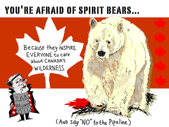 You're afraid of spirit bears because they inspire everyone to care about Canada's wilderness. (And say no to the pipeline.); Spirit Bear illustration by Franke James