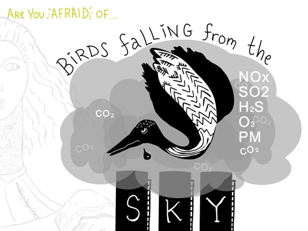Are you afraid of birds falling from a heavy sky, writing and illustration by Franke James