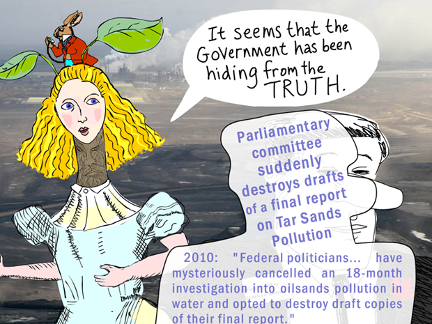 It seems that the government has been hiding from the truth; photo-illustration by Franke James, Tar Sands photo background: Syncrude 2007 -12 Photo  2007 David Dodge, CPAWS