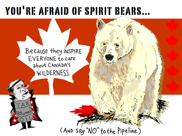 Youre afraid of spirit bears because they inspire everyone to care about Canada's wilderness. (And say no to the pipeline.); Spirit Bear illustration by Franke James