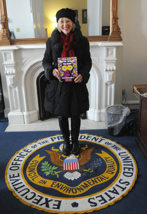 Franke James holds her Dear Obama book at CEQ office in DC on Feb 7 2014, Photo by Billiam James