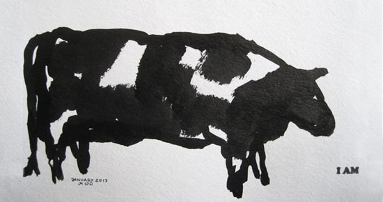 Cow drawing by Malgorzata Wolak Dault