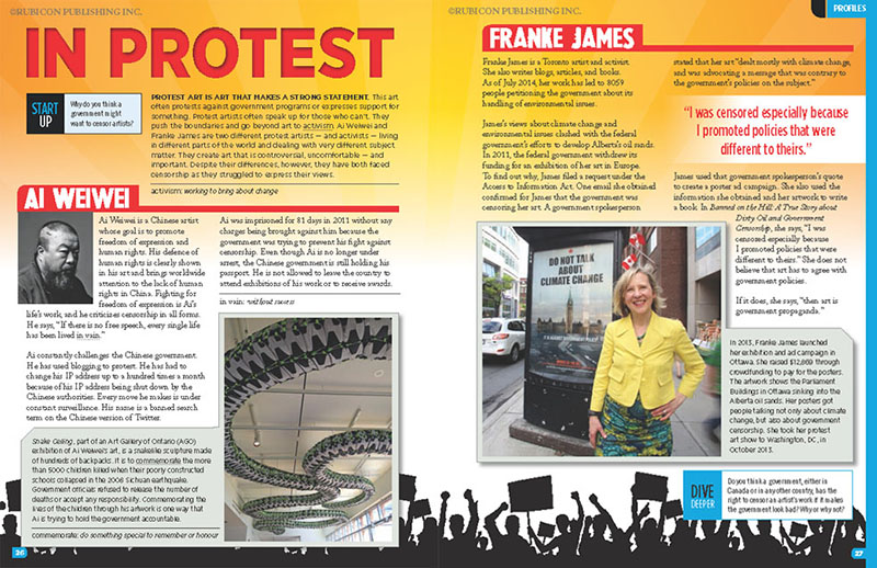 Scholastic Censorship 2015 book spread featuring Ai Weiwei and Franke James