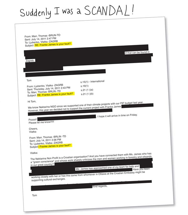 Bureaucrat Thomas Marr's redacted email feautured in Banned on the Hill by Franke James