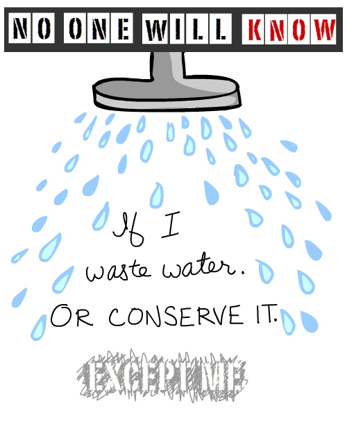 no one will know shower illustration by Franke James