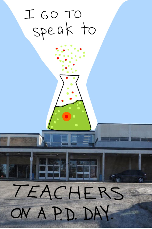 drawing of beaker and photo of Ottawa high school by Franke James