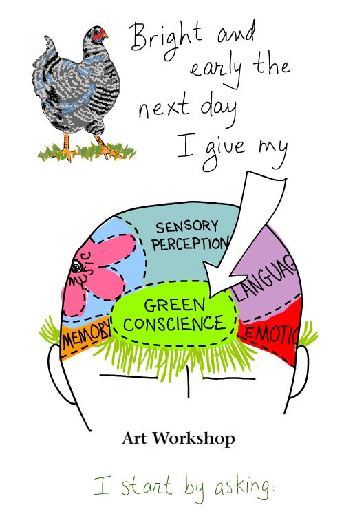 green conscience brain drawing by Franke James