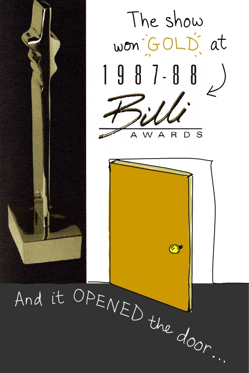 scans of Billi Award from 1987. Drawing of door by Franke James