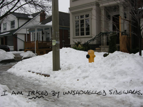 I am irked by unshovelled sidewalks