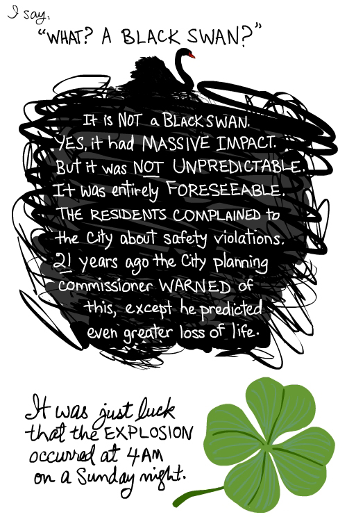 drawing by Franke James of black swan cloud and four leaf clover.