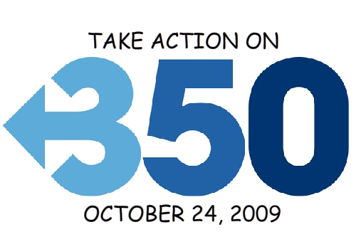 credit: 350.org logo with Franke's call to action;