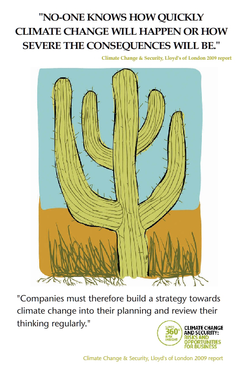 featured quote from Lloyds of London climate booklet; Cactus illustration from To My Future Grandkids in 2020 by Franke James;