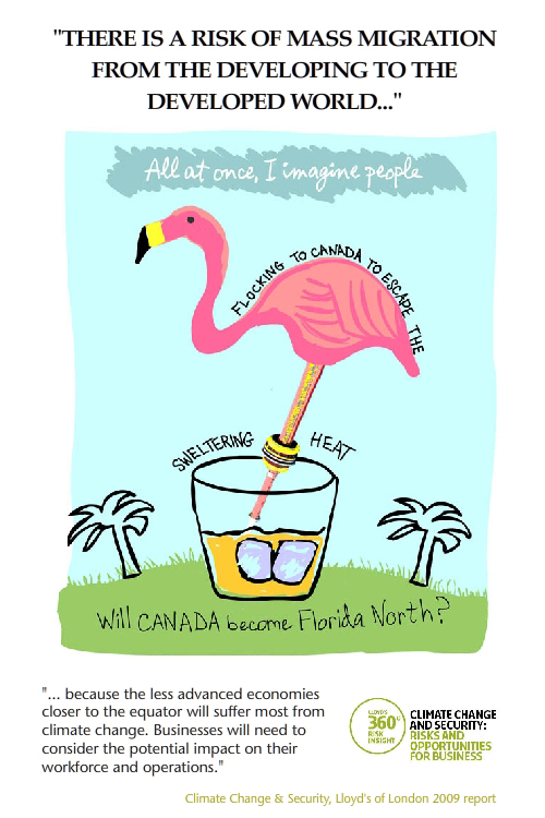 featured quote from Lloyds of London climate booklet; Canadian Flamingo illustration from Letter to My Future Grandkids in 2020 by Franke James;