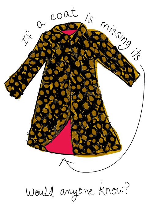 coat with pink lining illustration by franke james