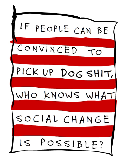dog shit illustration adapted from The Real Poop on Social Change by Franke James;