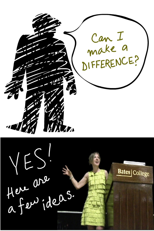 Artist and author Franke James speaks at Bates College Sept 5 2009 Make a Difference illustration by Franke James;