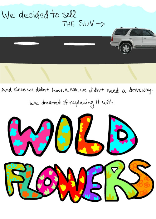 photo and illustration by franke james of flowers and suv