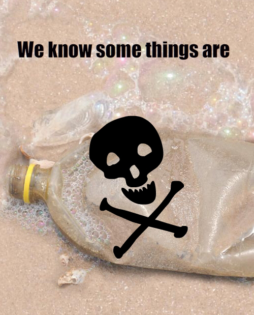 photo of plastic bottle on beach and toxic skull and crossbones illustrations by Franke James