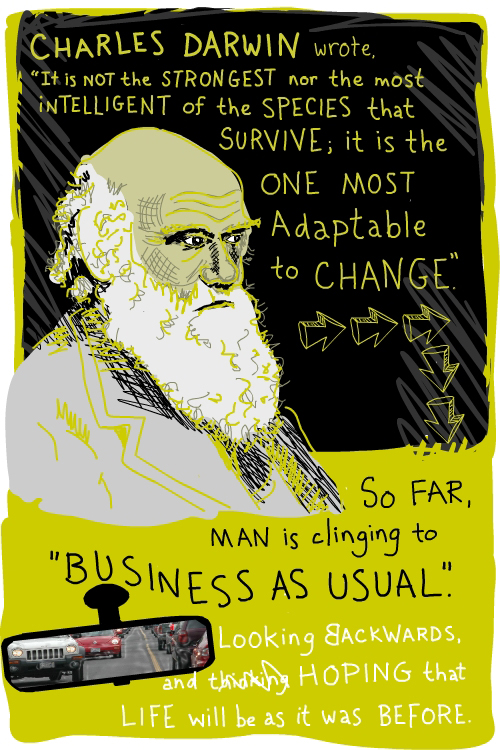 Charles Darwin illustration by Franke James