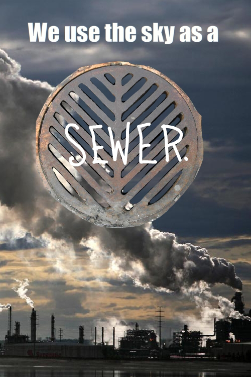 sewer grate in the sky collage photo by Franke James using greenpeace photo of the tar sands