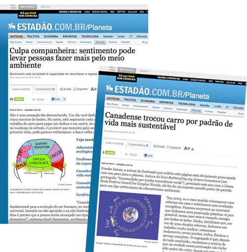 Articles in Brazilian newspaper featuring Franke James work