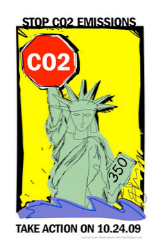 Stop CO2 statue illustration by Franke James