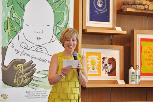 Franke James at book reading for Bothered by My Green Conscience, reading card; photo by Central Image Agency